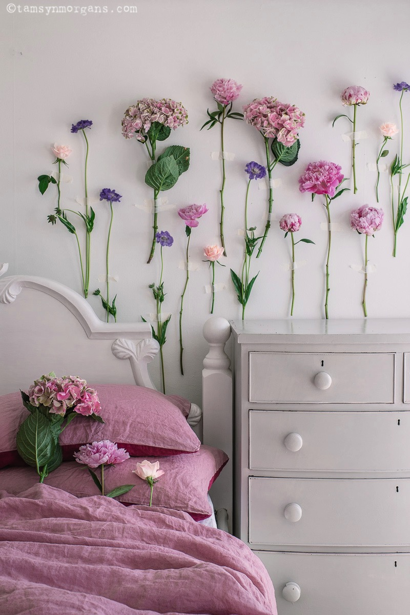 Pretty climbing flowers on my bedroom wall