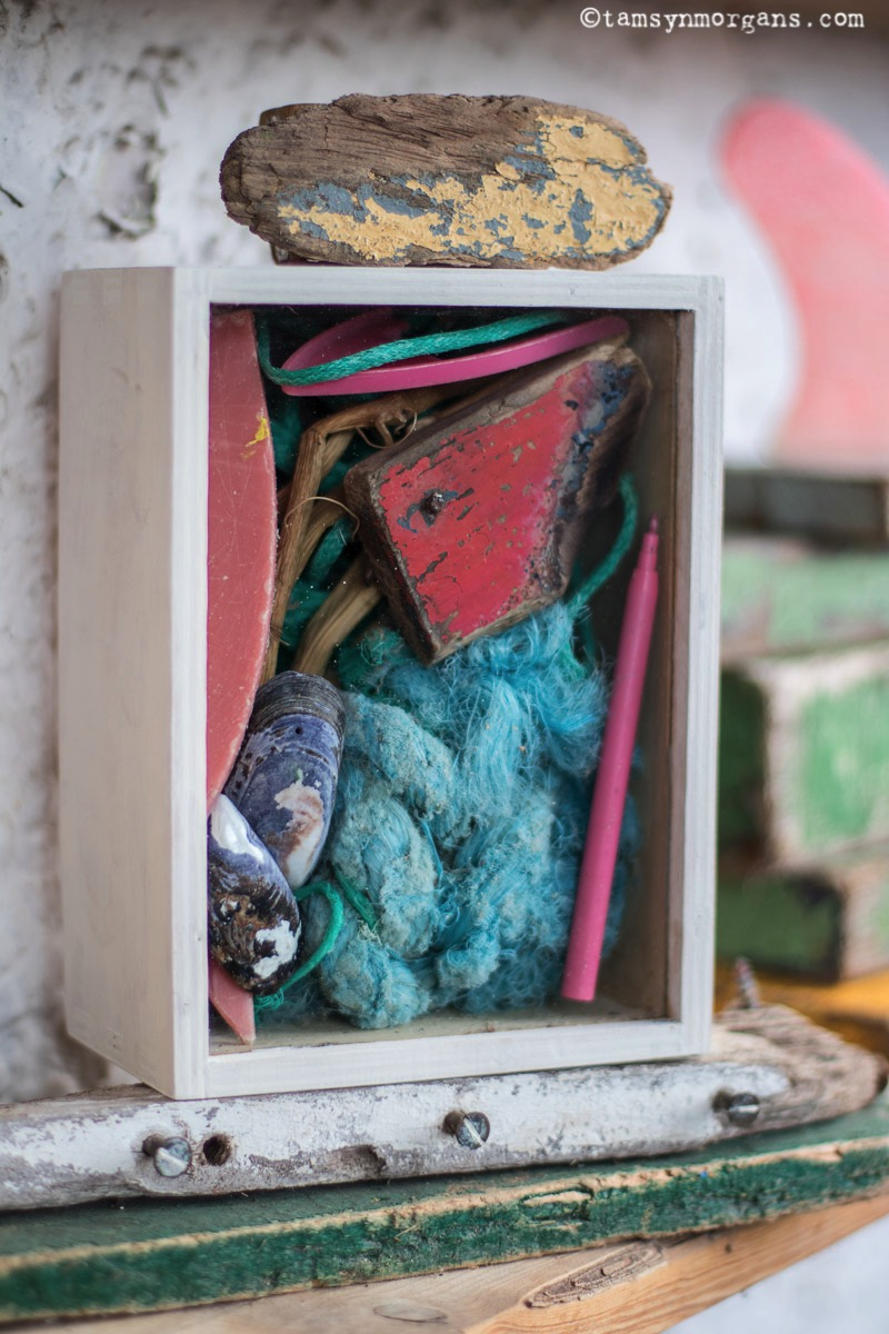 Art box filled with beach combed finds