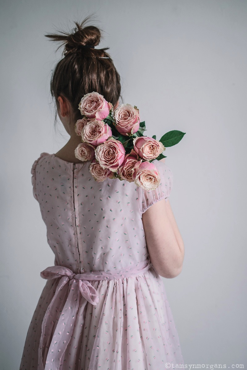 Pink roses and vintage dress
