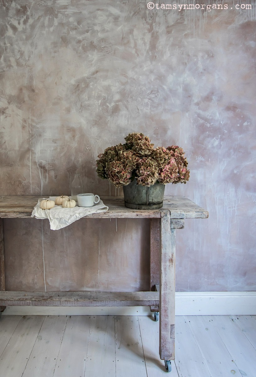 Still life of powdery pink hydrangeas