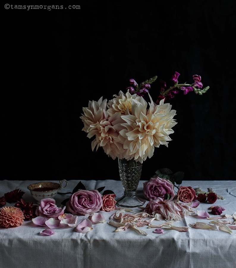 Still life of flowers and tea