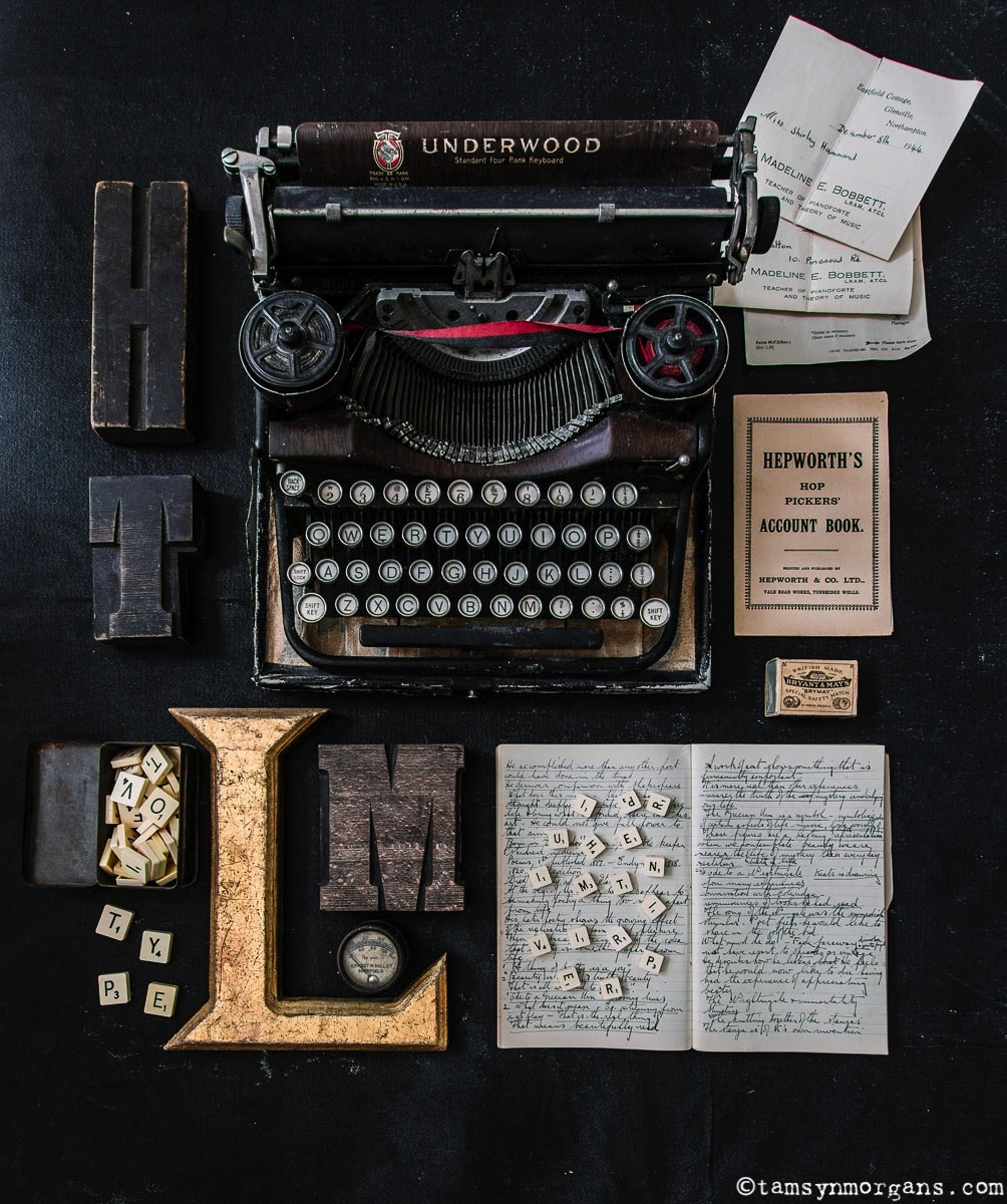 vintage typewriter and ephemera