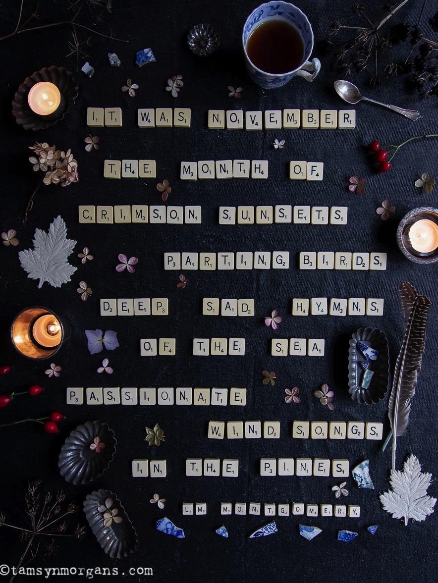 Scrabble letter flatlay