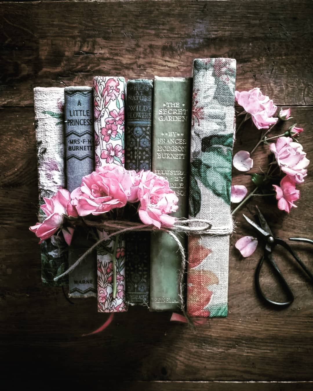 Beautiful vintage books and flowers