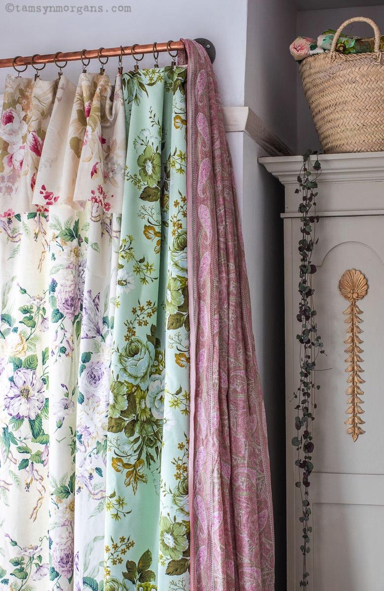 Layered vintage floral fabrics