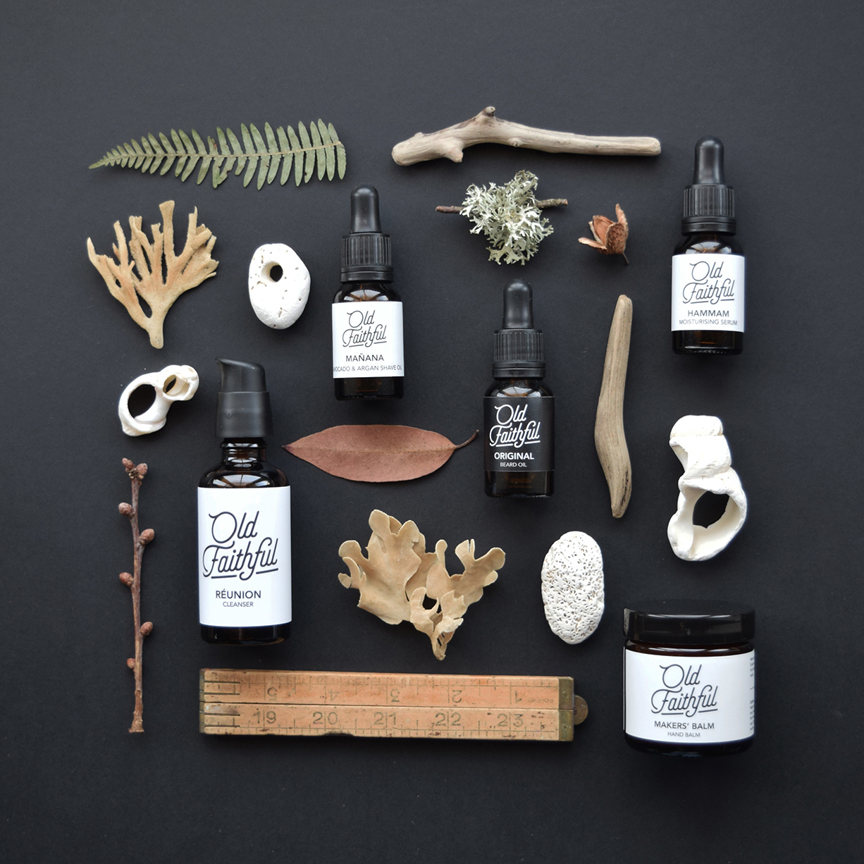 Flatlay of handmade products and nature finds