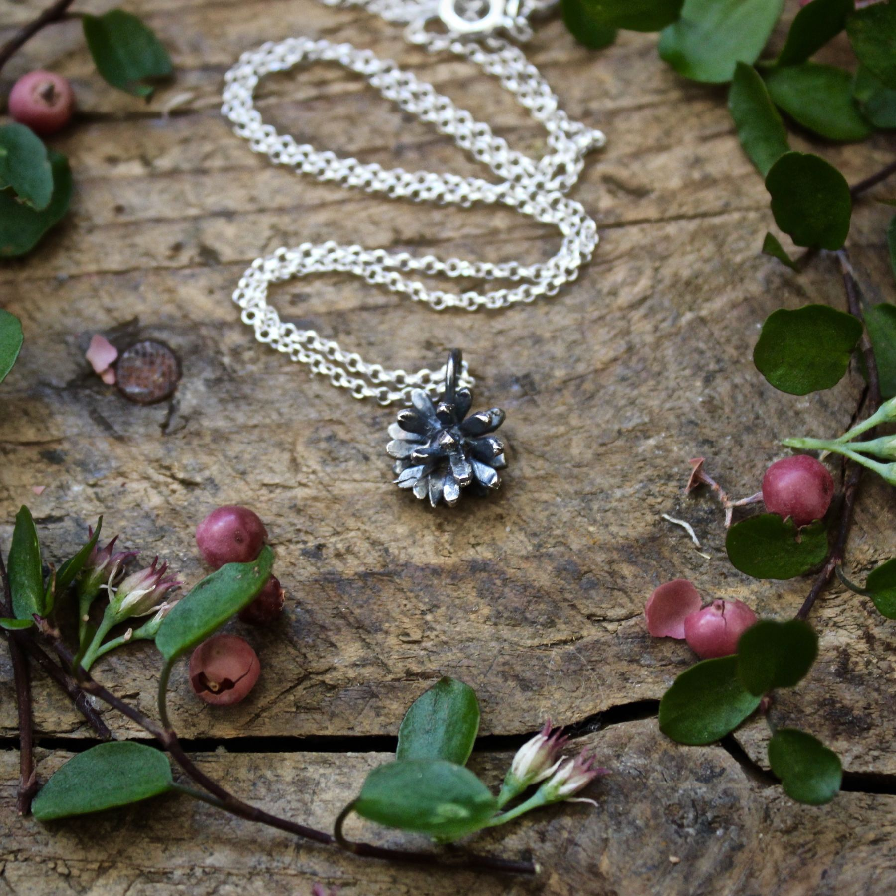 Silver floral necklace handmade by Grace & Flora