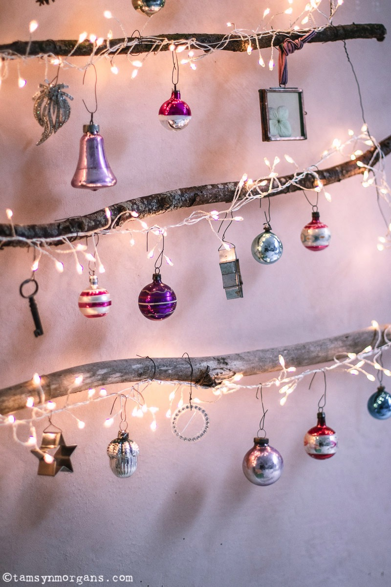 Alternative Christmas tree made from branches and vintage baubles