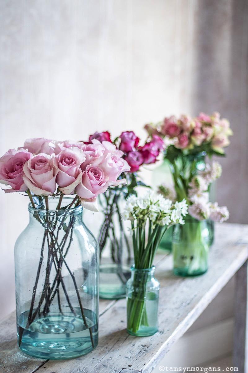 Roses In Vintage Vases