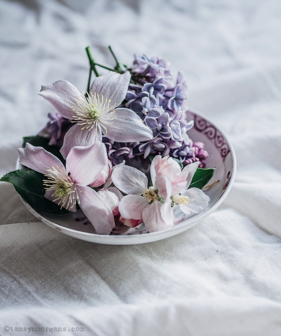 clematis in vintage bowl