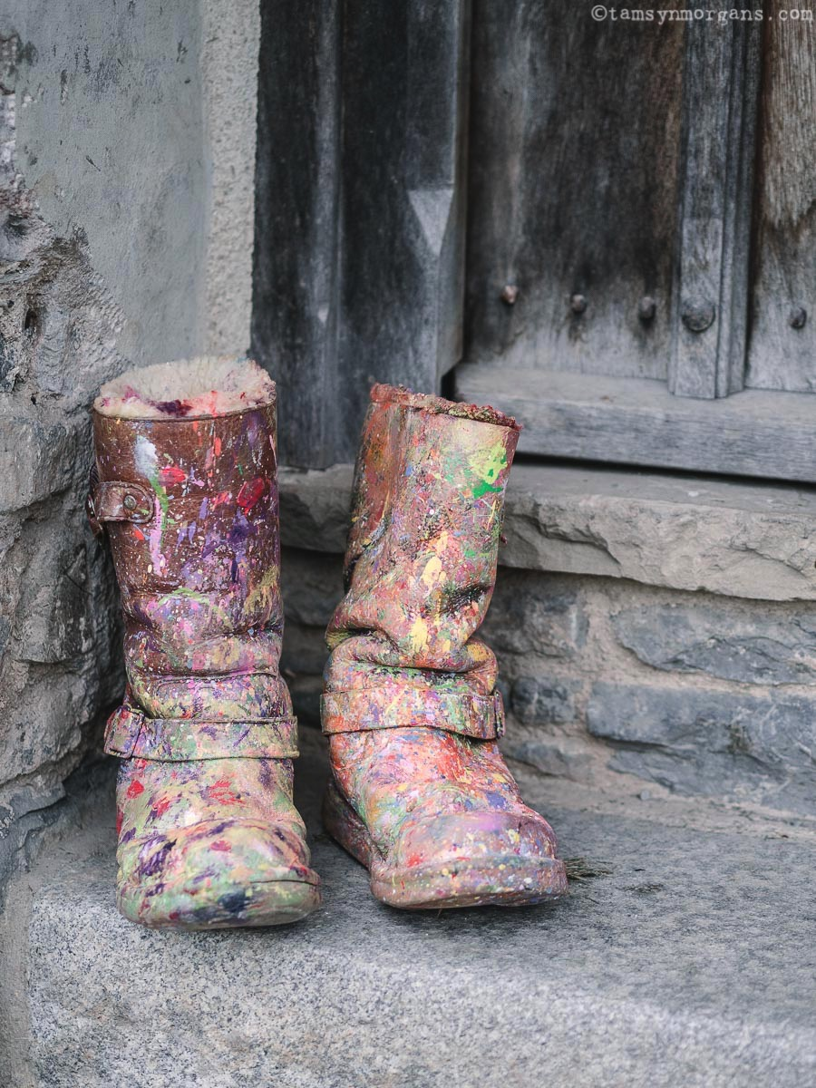 Paint splattered boots