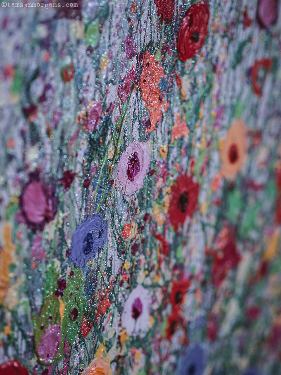 Close up of Yvonne Coomber Painting