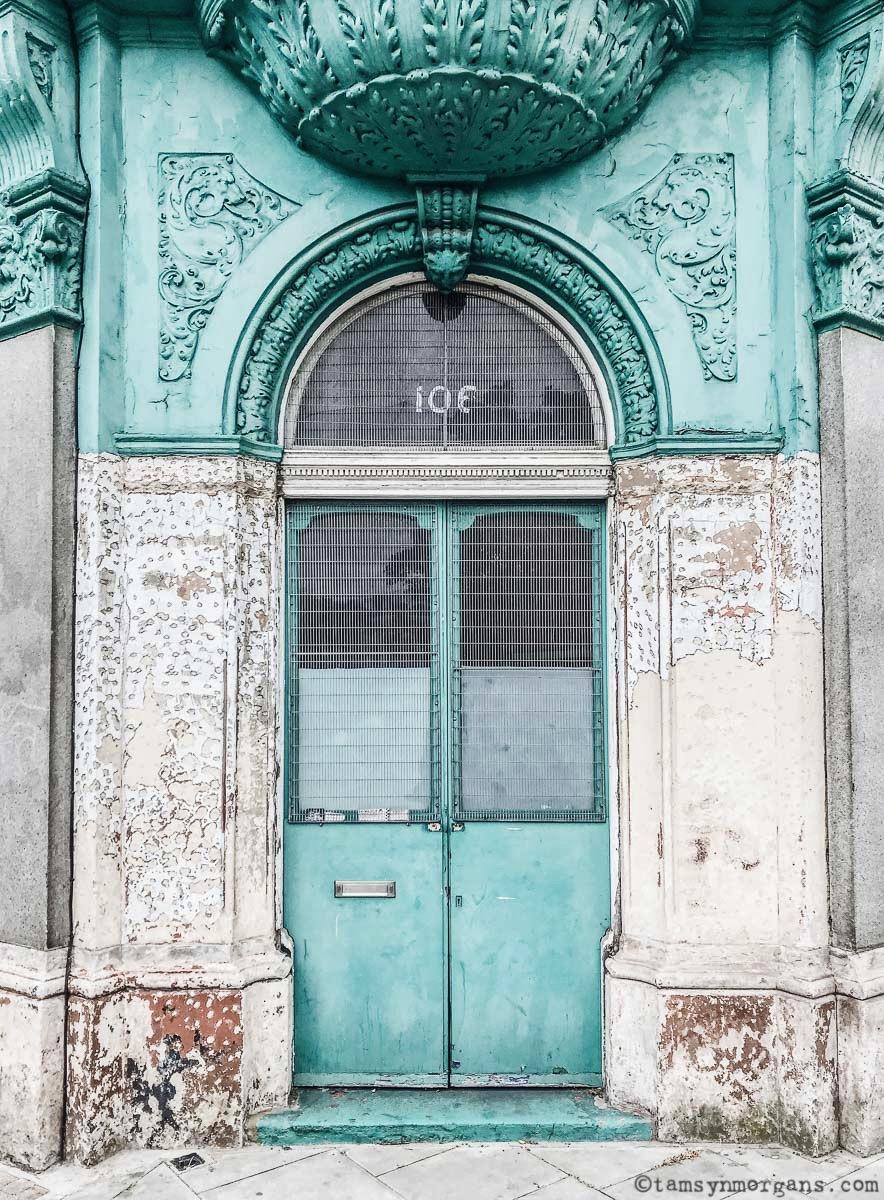 Mint green facade in Hoxton