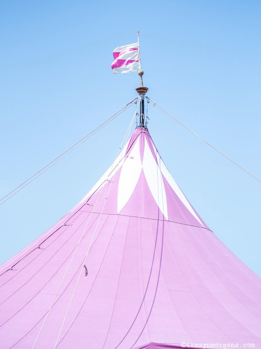 Pretty pink tent at Glastonbury Festival