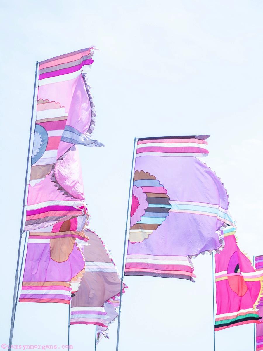 Pastel flags at Glastonbury Festival