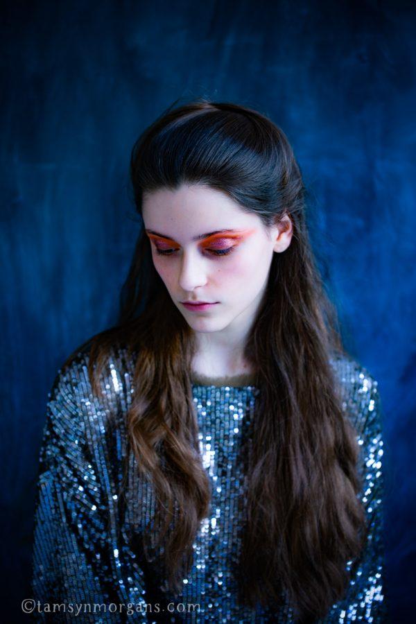 Portrait of girl in sequinned top