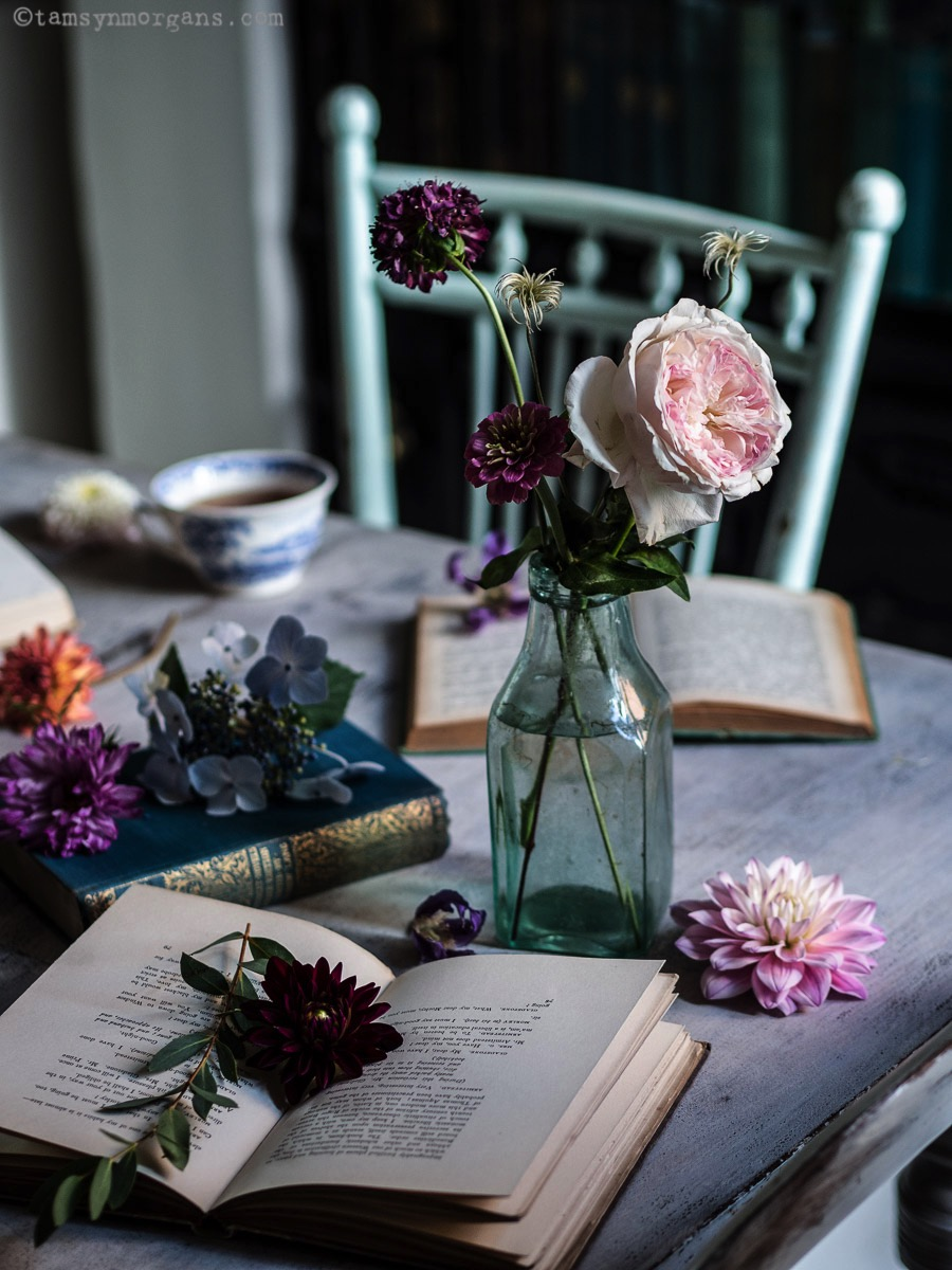 vintage books and roses