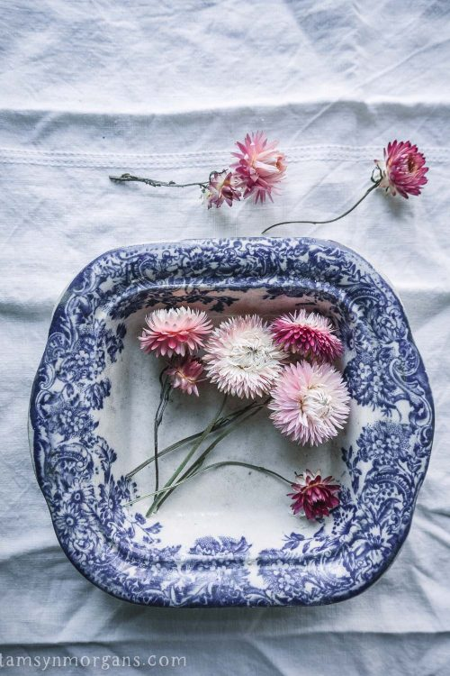 Pink straw flowers in a vintage bowl