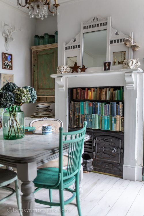 Period home dining room with vintage furniture