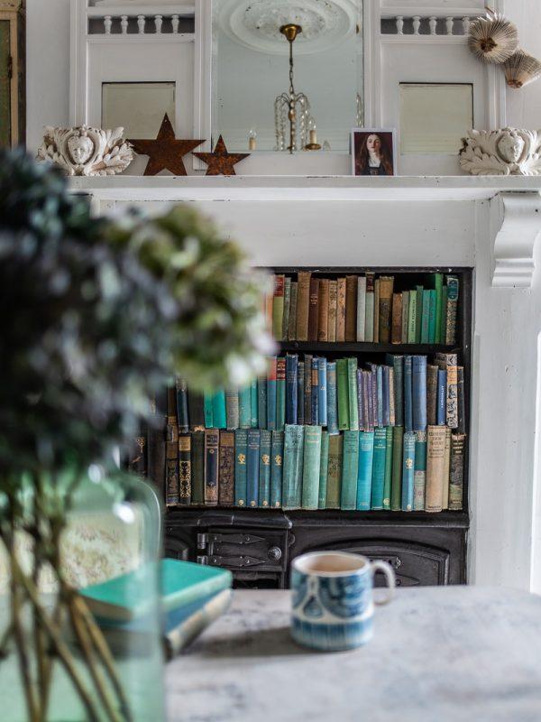 Green and blue books on a shelf