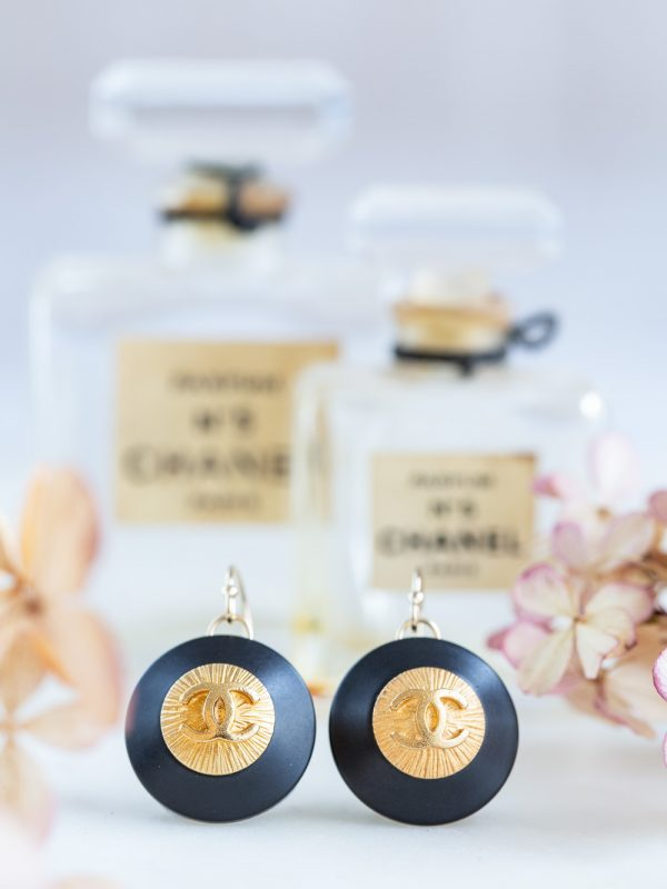 Vintage button earrings and hydrangea petals