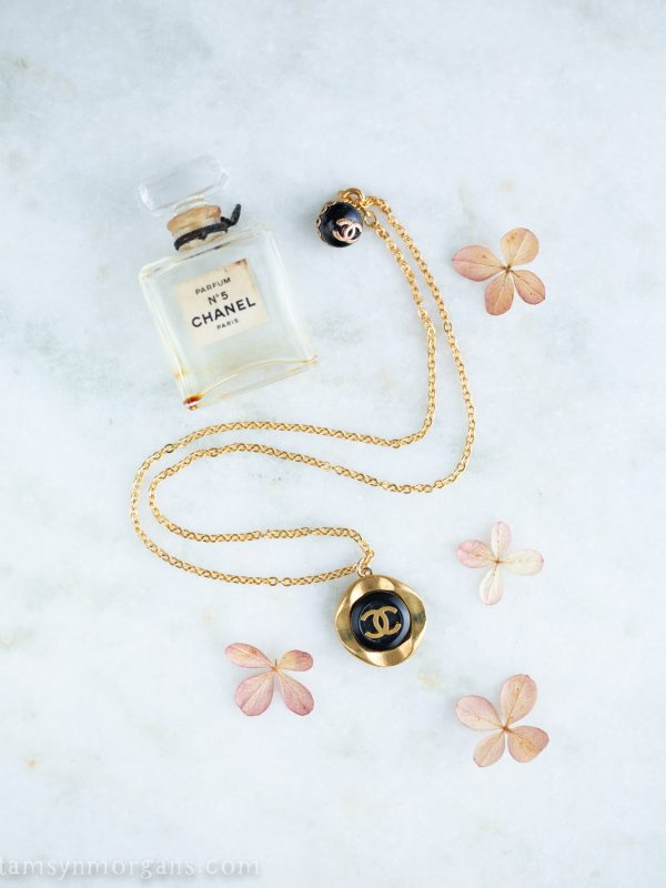 Vintage button jewellery and hydrangea petals