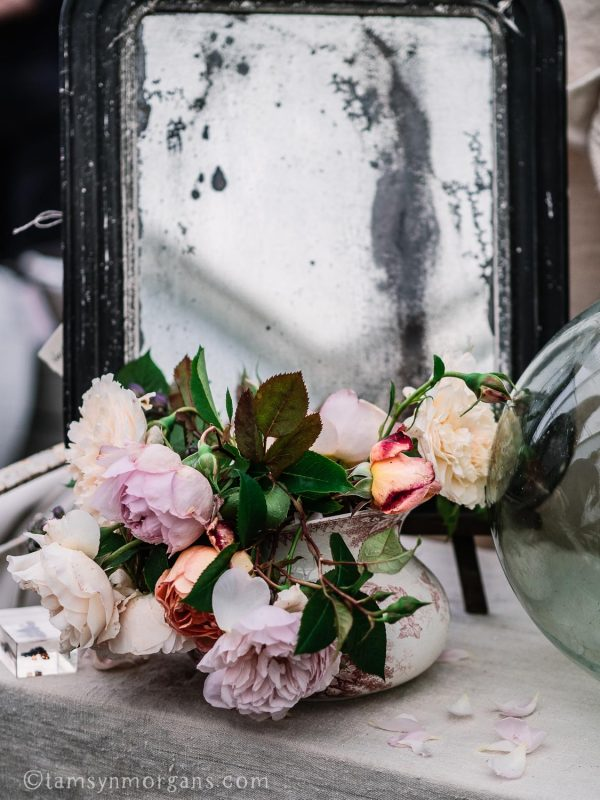 Roses and vintage mirror