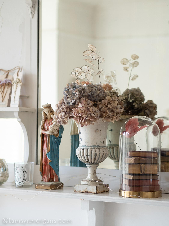 Vintage urn with hydrangeas