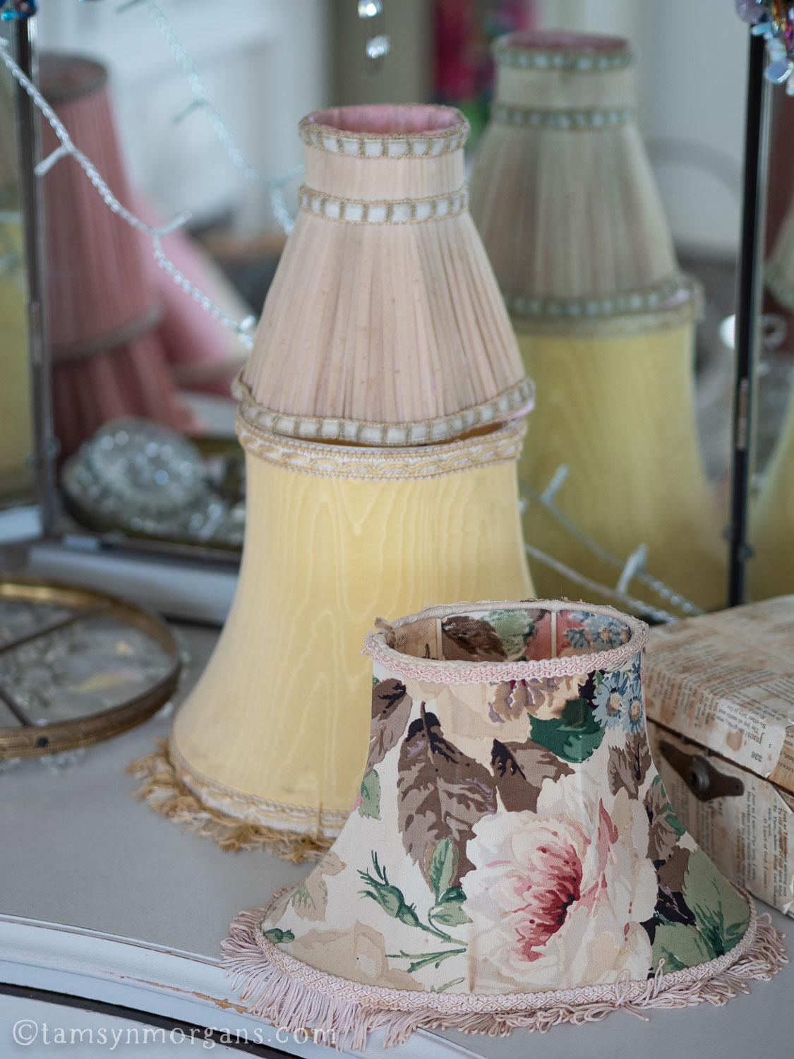 Vintage lampshades in pastel colours