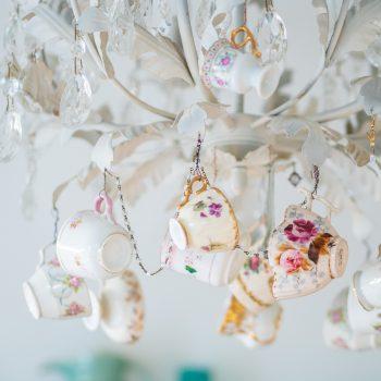 Chandelier with hanging vintage teacups