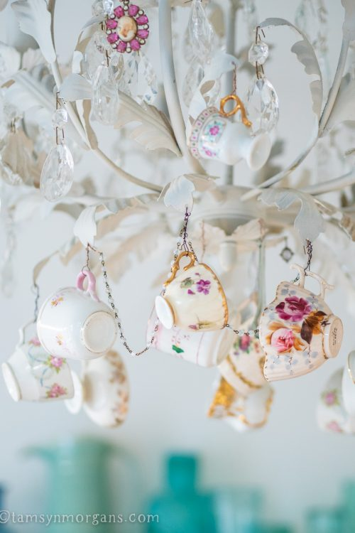 Chandelier with hanging vintage teacups